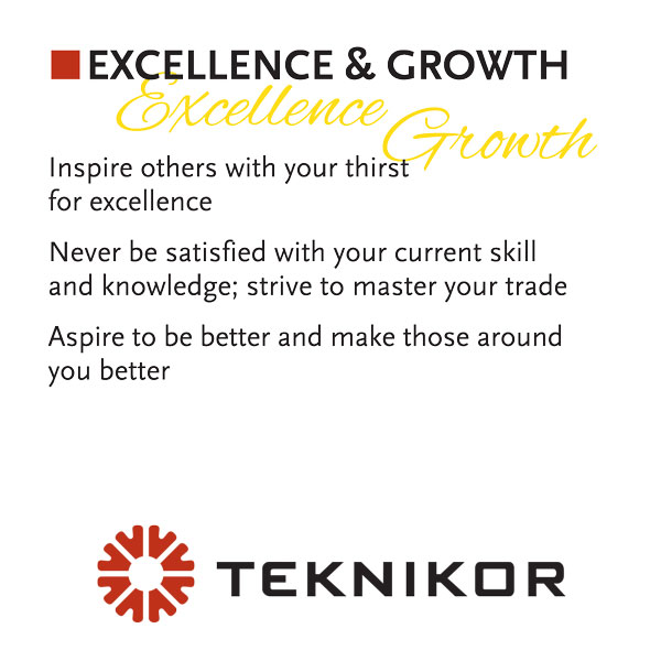 Excellence & Growth are core values at Teknikor